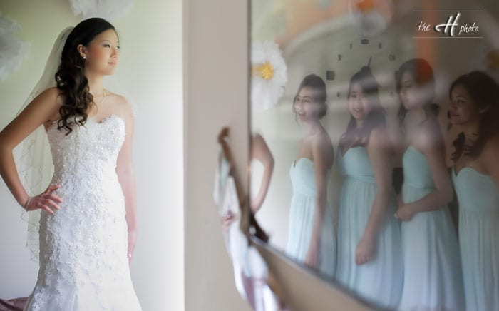 reflection with the bridesmaides