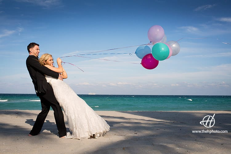pulling balloons for pictures