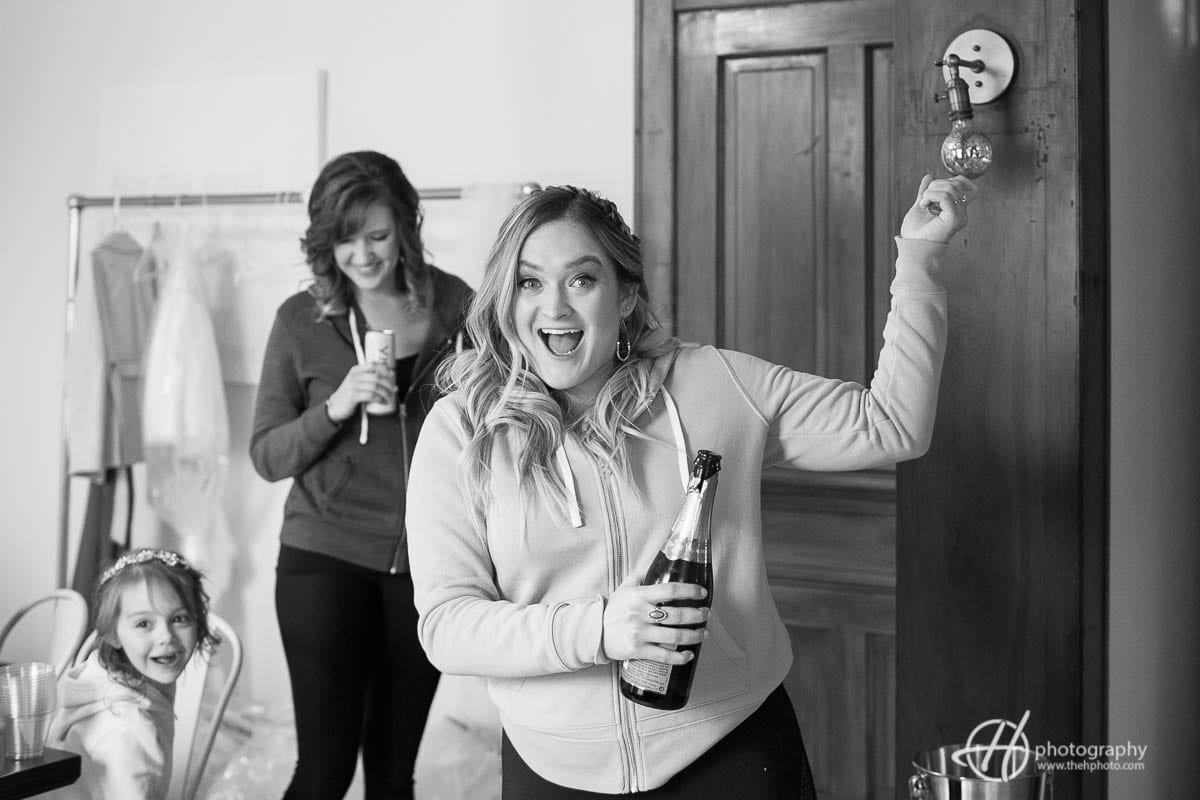 bride with champagne