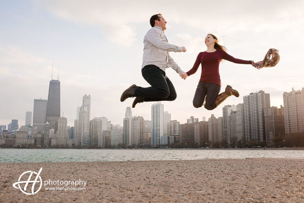 jumping high at engagement session