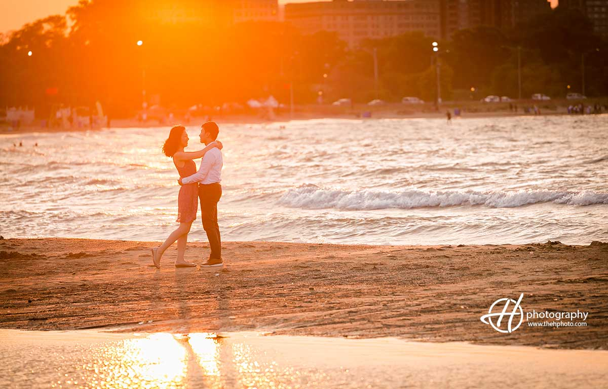 engagement in sunset