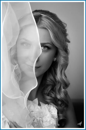 bride portrait at home